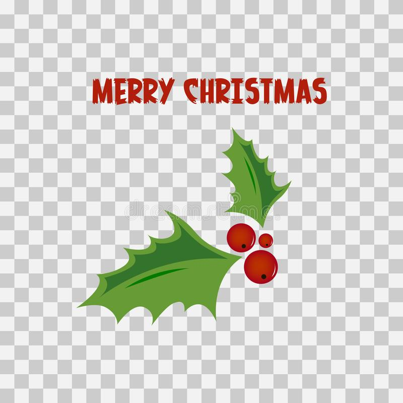 Download Merry Christmas Greeting Card Holly Design Elements Transparent Background Stock Vector