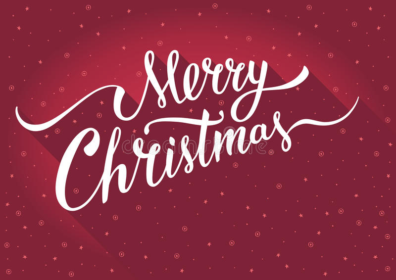 Merry Christmas Greeting card with vintage handlettering typography on red background. vector illustration