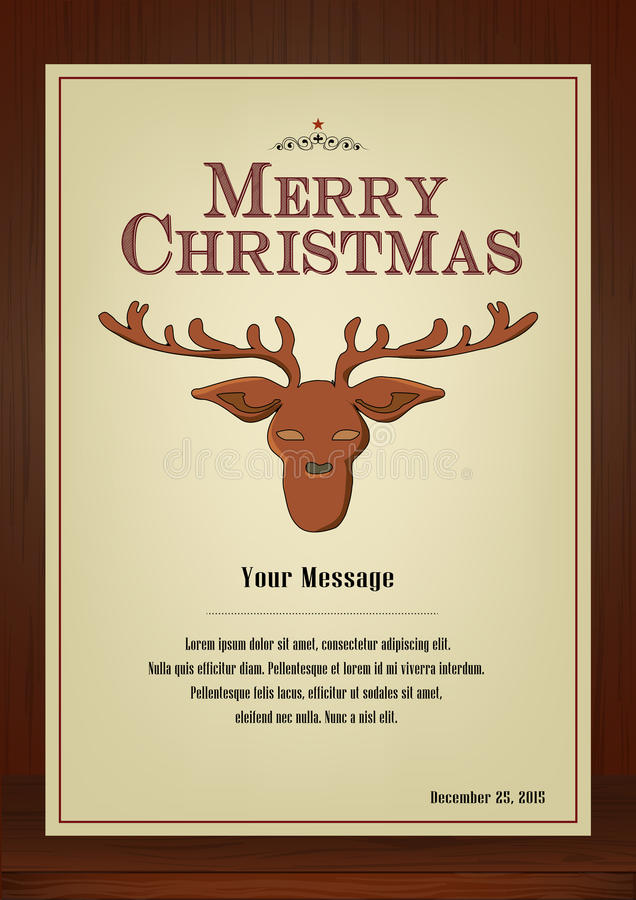 Merry Christmas Greeting card in vintage with reindeer symbol on wooden background. Merry Christmas,Brochure and greeting card in vintage style vertical design vector illustration