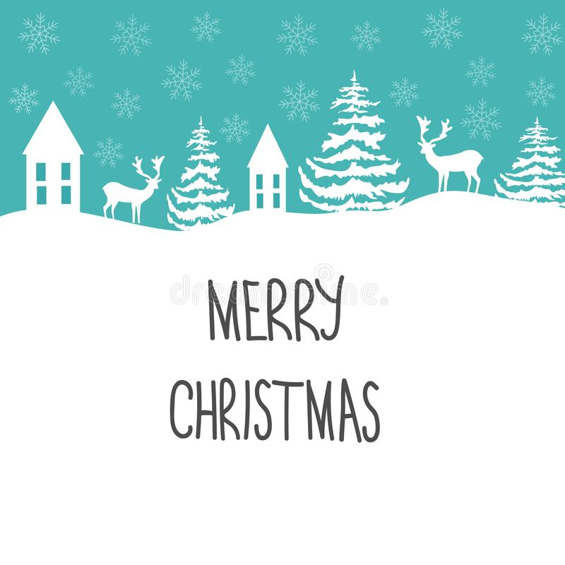 Merry Christmas Greeting Card. White Reindeer Fir Trees Snow Flakes Houses on Blue Background. Decorative Frame. Hand Lettering vector illustration