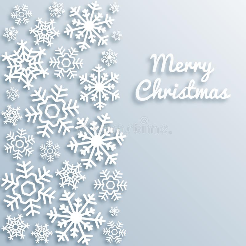Merry Christmas greeting card with white snowflakes. Paper style Xmas vector background template. Elegant poster, flyer royalty free illustration