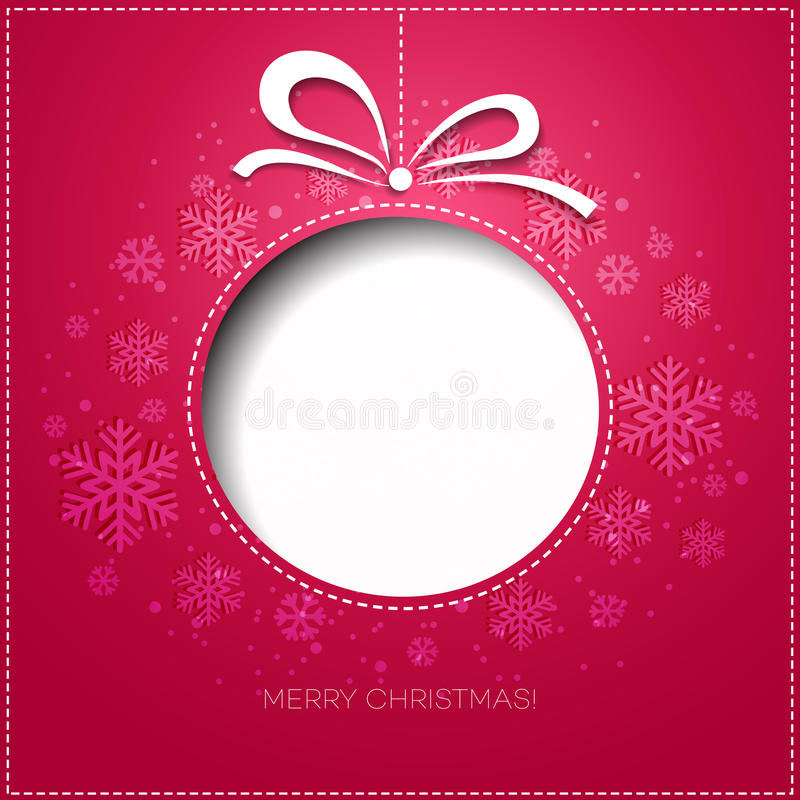Free Merry Christmas Greeting Card With Bauble. Paper Royalty Free Stock Images - 47440349
