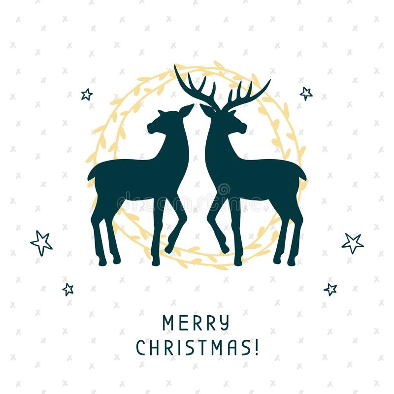 Free Merry Christmas Greeting Card With Calligraphy Hand Drawn Silhouettes Of Two Deer Stock Photography - 101570092