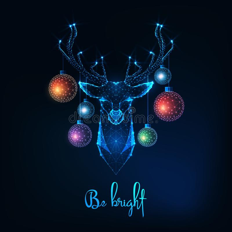 Free Merry Christmas Greeting Card With Glowing Low Polygonal Deer Head And Hanging Decorative Balls And Text Be Bright Stock Images - 160756674