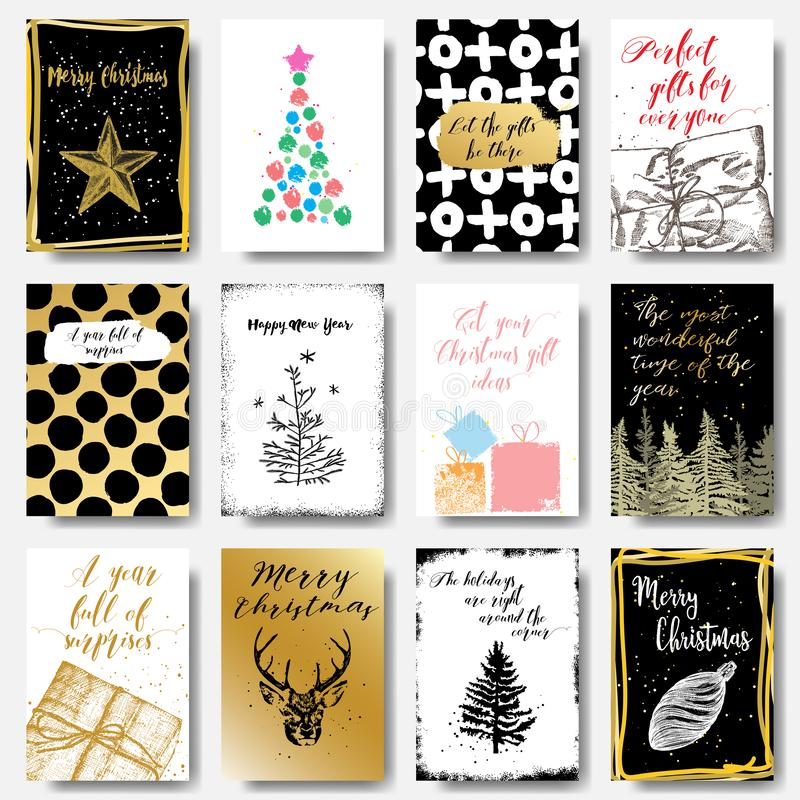 Merry Christmas greeting cards templates set. Vector. royalty free illustration