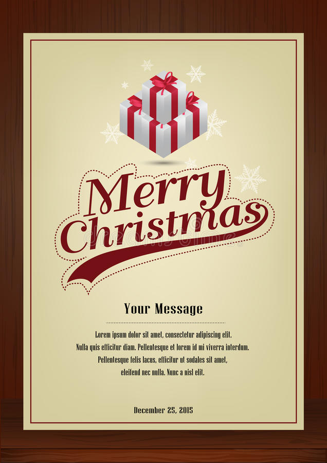 Merry Christmas Greeting card in vintage with presents symbol on wooden background. Merry Christmas,Brochure and greeting cards in vintage style vertical design vector illustration
