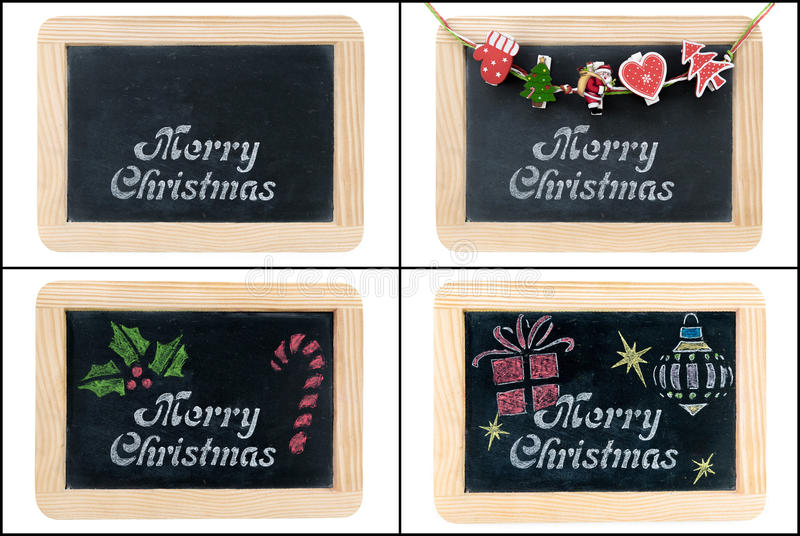 Merry Christmas greeting on chalkboard frames. Photo collage of Merry Christmas greeting on vintage chalkboard frames isolated on white stock photo