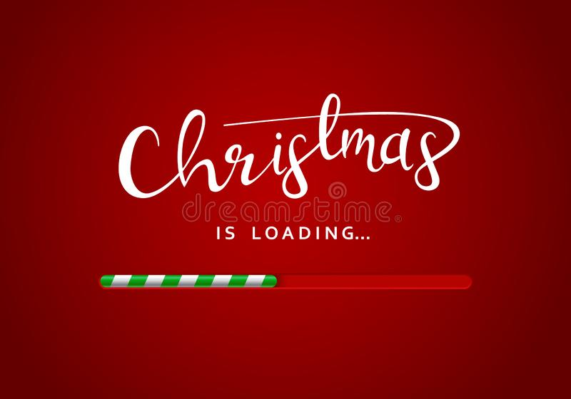 Merry Christmas greeting message on the red background with loading bar underneath the sign. Christmas greeting card royalty free illustration
