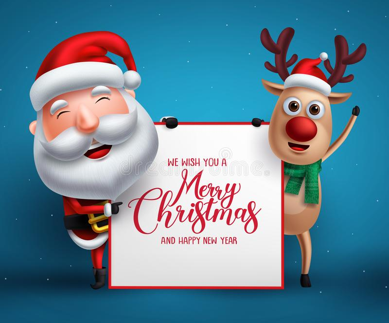 Merry christmas greeting template with santa claus and reindeer vector characters royalty free illustration