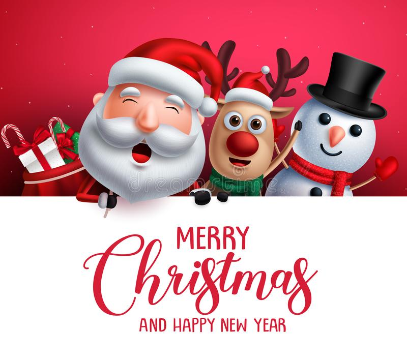 Merry christmas greeting template with santa claus, snowman and reindeer vector characters royalty free illustration