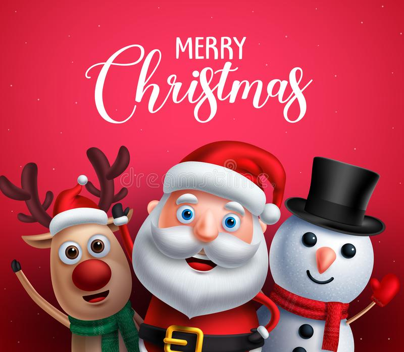 Merry christmas greeting text with santa claus, reindeer and snowman vector characters stock illustration