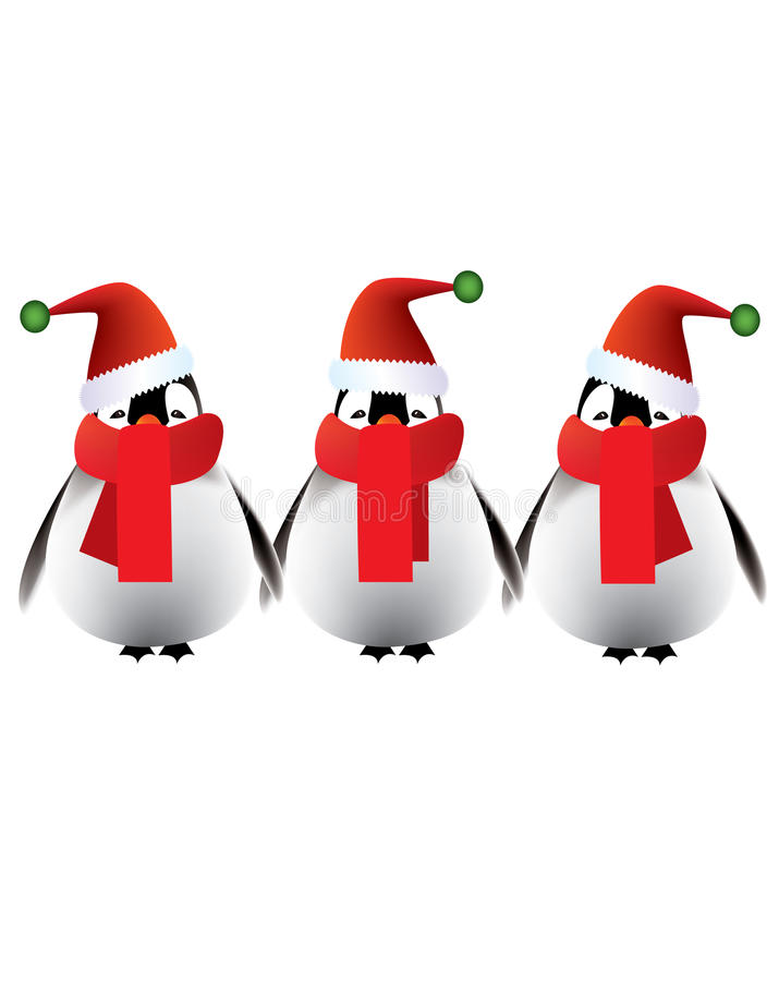 Download Merry Christmas Greetings From Baby Penguins Stock Vector - Image: 17005322