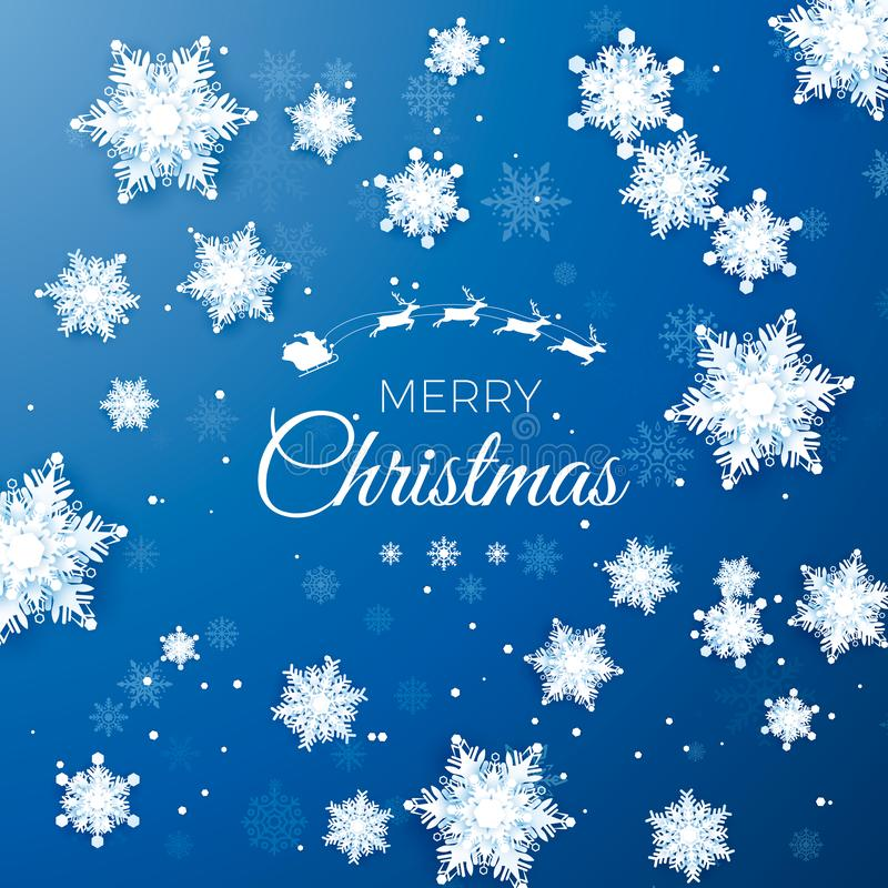 Free Merry Christmas Greetings Card. Origami Snowfall. White Paper Cut Snow Flake. Happy New Year. Space For Text Stock Photos - 133201003