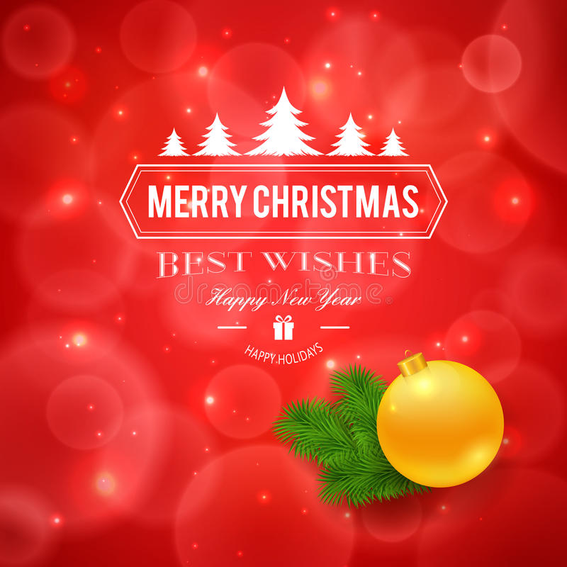 Merry Christmas greetings logo on red background vector illustration