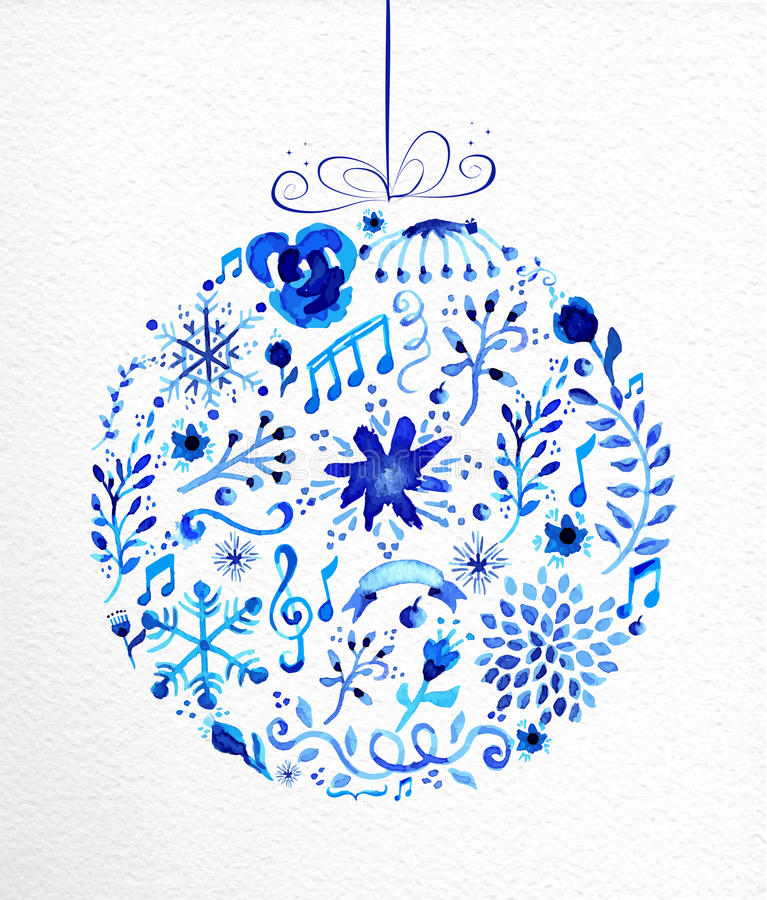 Merry Christmas hand drawn bauble illustration stock photo