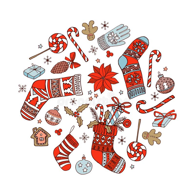 Merry Christmas Hand drawn circle doodle pattern background frame border stock illustration