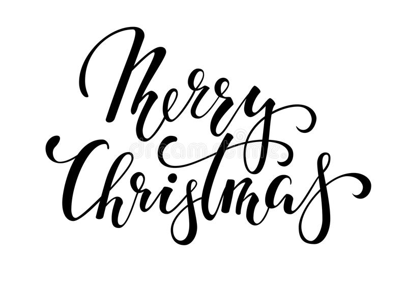 Merry Christmas. Hand drawn creative calligraphy and brush pen lettering. design for holiday greeting cards and invitations of the. Merry Christmas and Happy stock illustration