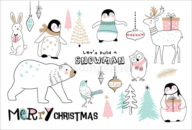 Merry Christmas. Christmas hand drawn doodle cartoon set