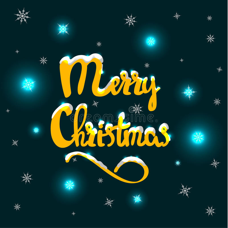 Merry Christmas hand drawn lettering royalty free illustration