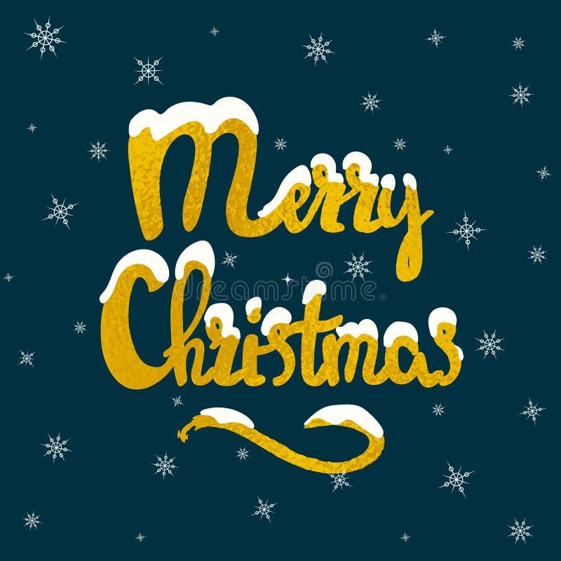 Merry Christmas hand drawn lettering stock illustration
