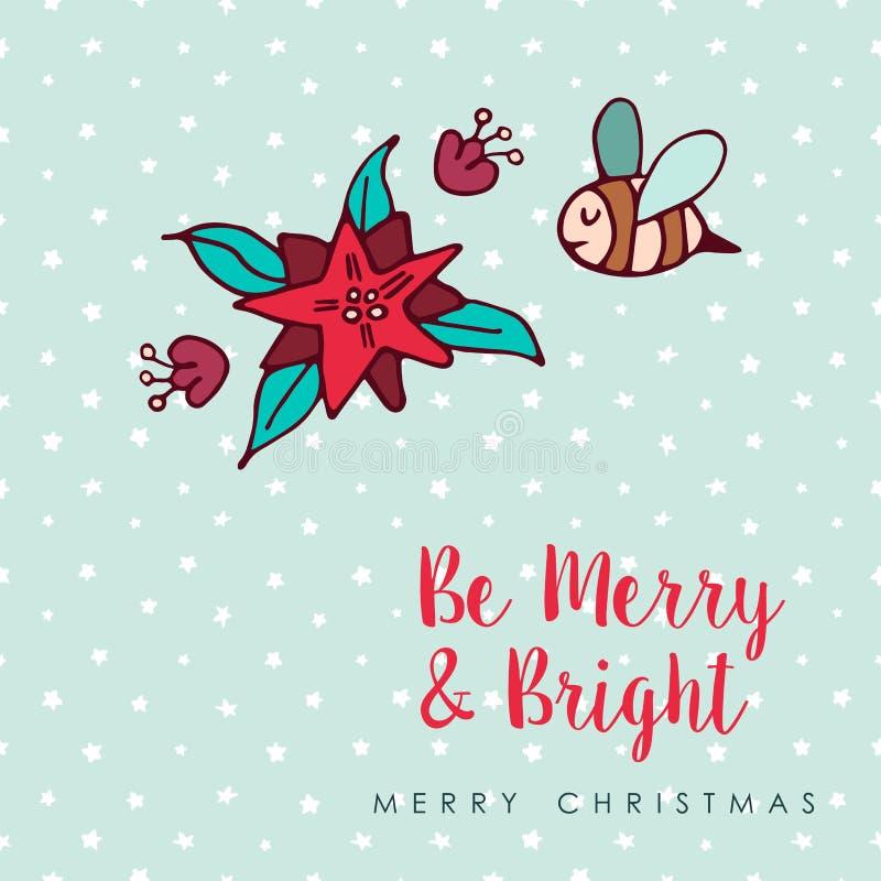 Christmas cute bee flower cartoon greeting card vector illustration