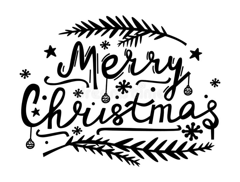 Merry Christmas hand lettering. Doodle style illustration with Xmas symbols. Modern lettering for cards, posters, t-shirts, banner. S with hand drawn elements vector illustration