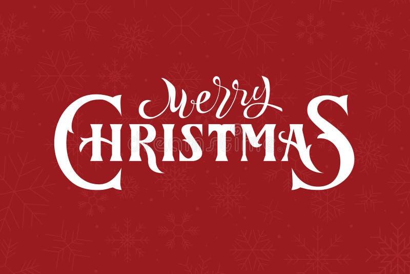 Merry christmas hand lettering logo on red background. stock illustration