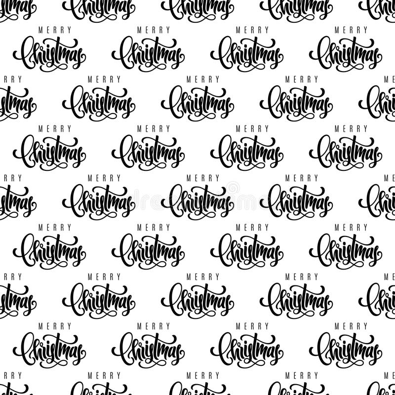 Merry Christmas hand lettering seamless pattern background. Template for a business card, banner, poster, notebook, invitation. Vector illustration for your stock illustration