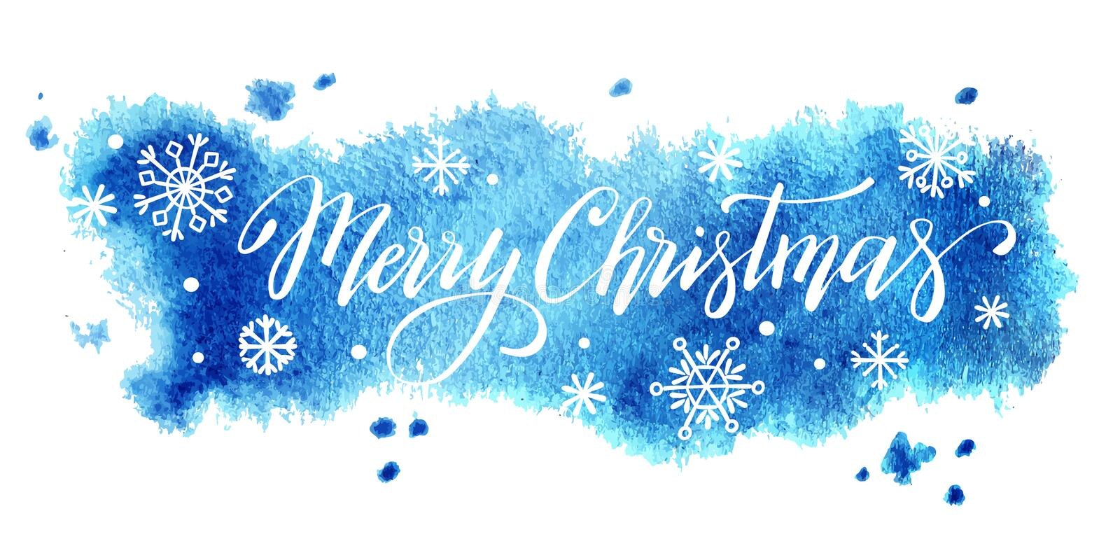 Merry Christmas hand lettering on watercolor background, vector  illustration royalty free illustration