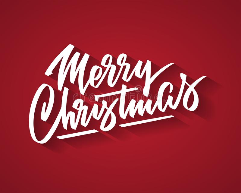 Merry Christmas hand-written text, words, typography, calligraphy, lettering. Vector white inscription on Cristmas holiday on red background. For banner, flyer royalty free illustration