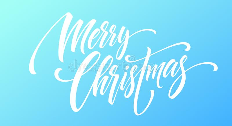 Merry Christmas handwriting script lettering on a bright colored background. Vector illustration royalty free illustration