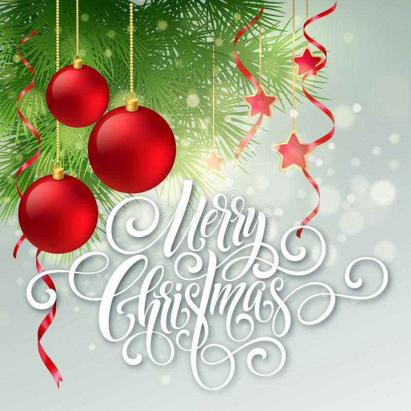 Merry Christmas handwriting script lettering. Greeting background with a Christmas tree and decorations. Vector stock illustration