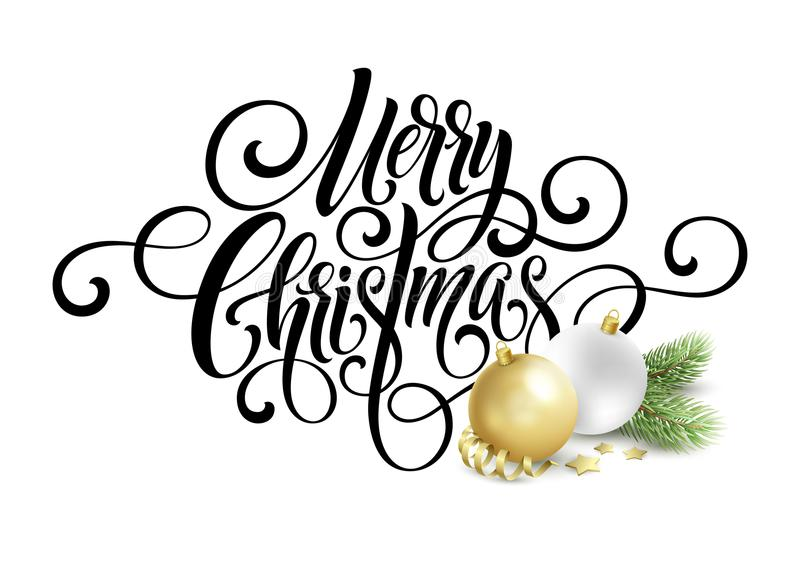 Merry Christmas handwriting script lettering. Greeting background with a Christmas tree and decorations. Vector royalty free illustration