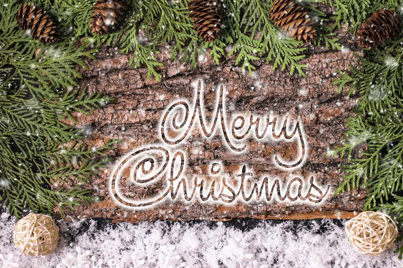 MERRY CHRISTMAS handwritten inscription. Winter holiday composition. New Year and Christmas celebration. Winter holidays stock images