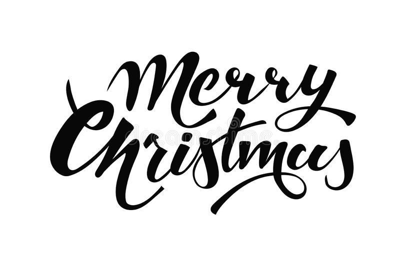 Merry Christmas handwritten lettering. Black text isolated on white background. Christmas holidays typography. Vector royalty free illustration