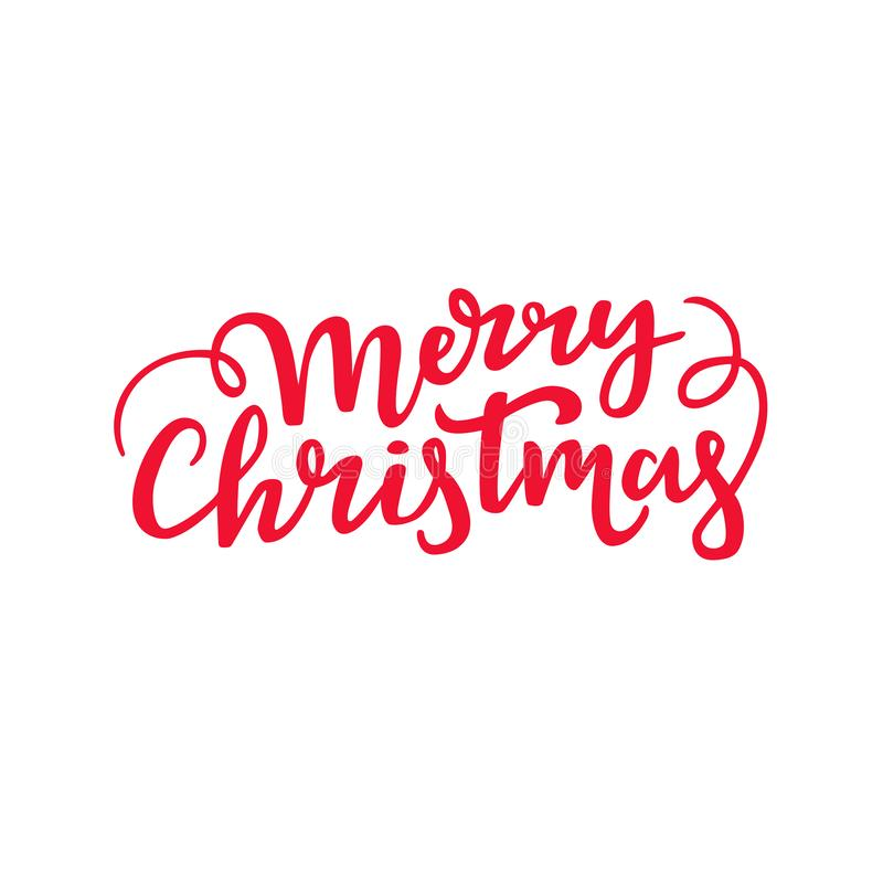 Merry Christmas handwritten lettering. Decorative cursive script design. Holiday typography. stock illustration