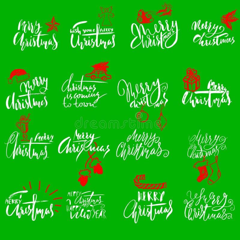 Merry Christmas handwritten lettering. Typographic emblems set. Vector logo, text design. Usable for banners, greeting. Merry Christmas handwritten lettering on vector illustration