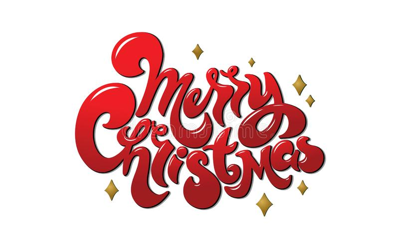 Merry Christmas handwritten lettering. Vector inscription with red text. royalty free illustration