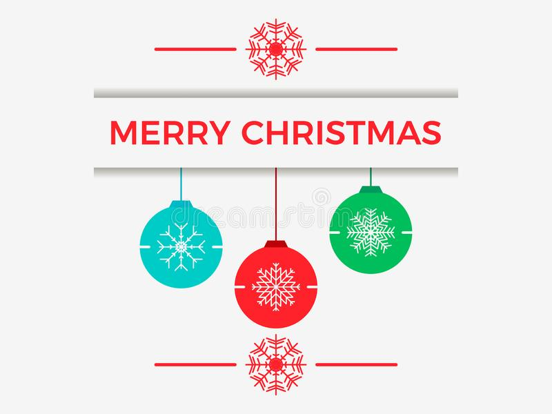 Merry Christmas. Hanging Christmas balls with snowflakes, greeting card. Vector stock illustration