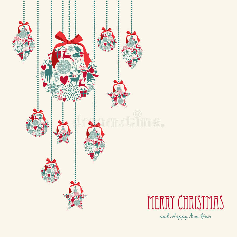 Merry Christmas hanging elements decoration compos stock illustration