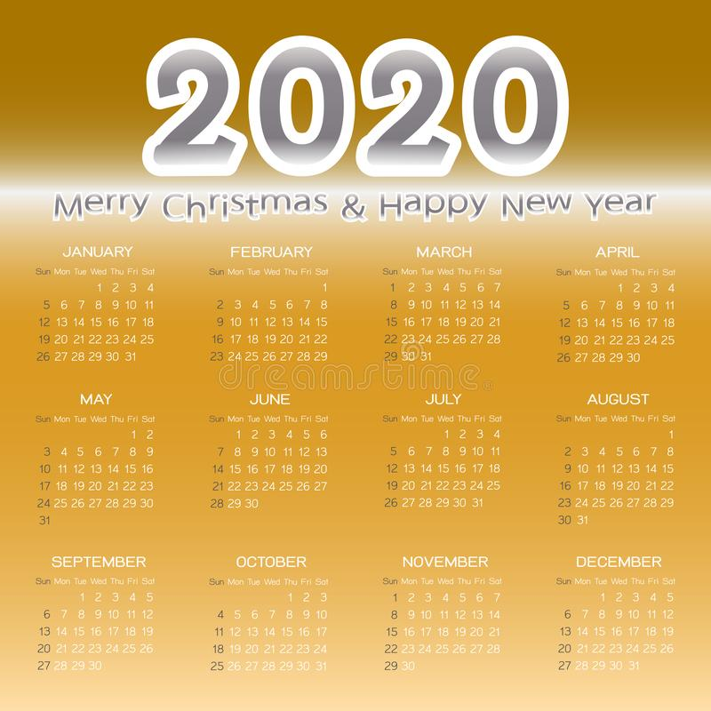 Merry christmas and happry new year 2020 calendar template 库存例证