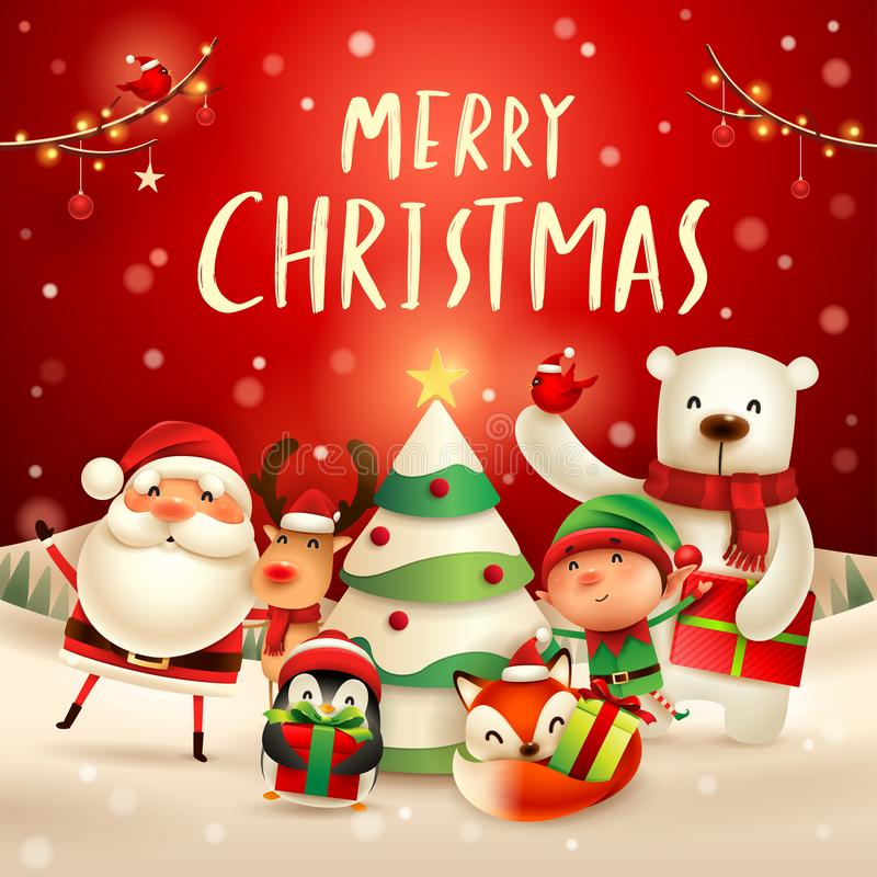 Merry Christmas! Happy Christmas companions. Santa Claus, Reindeer, Elf, Polar Bear, Fox, Penguin and Red Cardinal Bird in Christ royalty free illustration