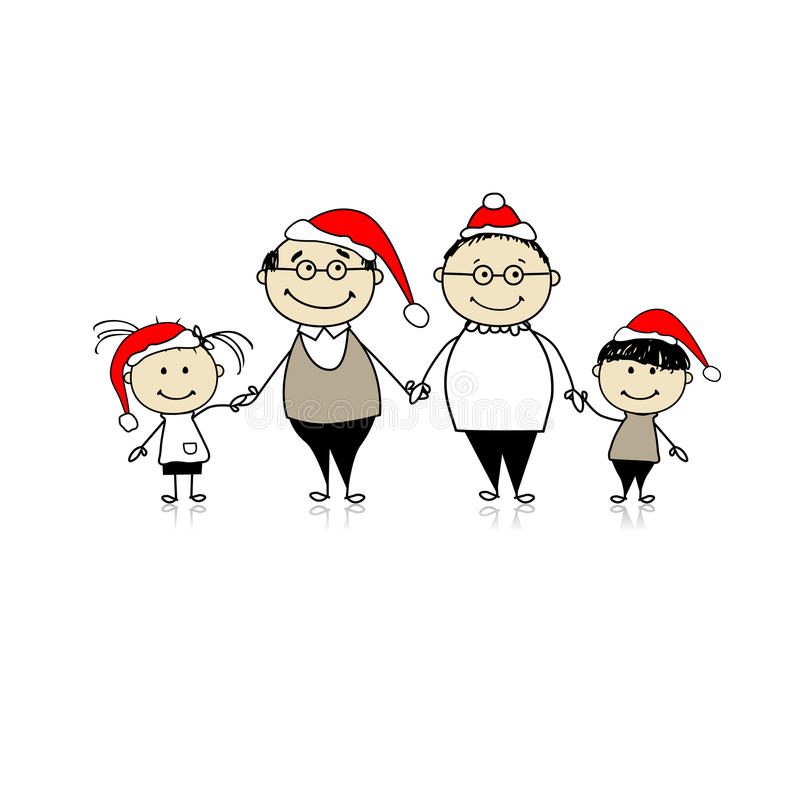 Merry christmas. Happy family together royalty free illustration