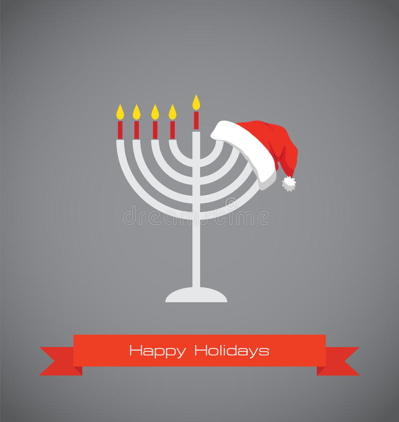 Merry christmas and happy hanukkah stock illustration