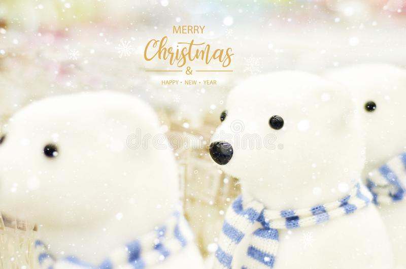 Merry Christmas and Happy Hew Year. Christmas decoration of bears. Soft toys stock photo