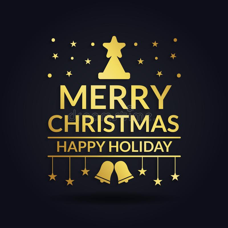 Merry christmas and happy holiday luxury design black background vector illustration