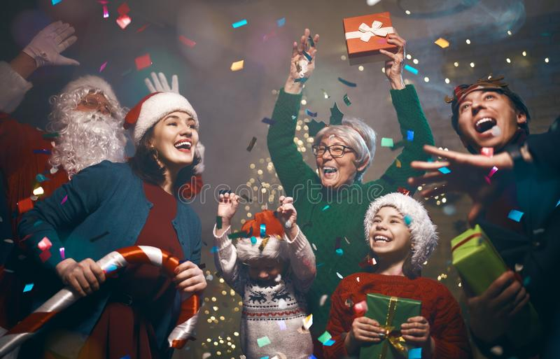 Christmas family party stock image