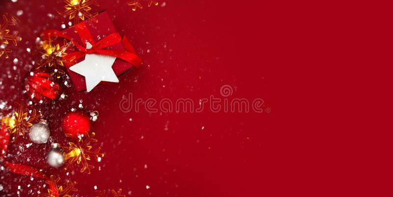 Christmas and New Year holiday background. Xmas greeting card. Winter holidays. stock images