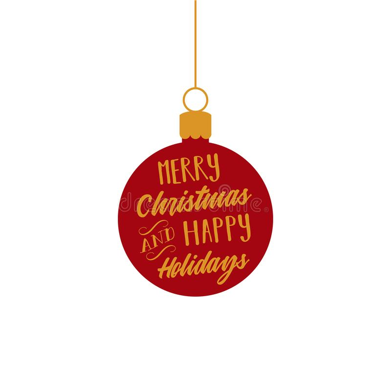 merry christmas and happy holidays red and gold ball ornament rh dreamstime com christmas ornament vector png christmas ornament vector clipart