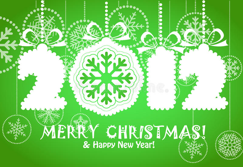Merry Christmas And Happy New  2012 Year Royalty Free Stock Photos